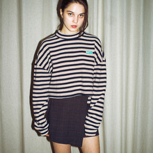 [RUNNINGHIGH] Crop Turtle Neck Stripe Cut&Sewn - 3Color