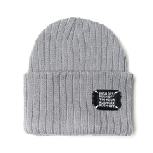 [RUSH OFF] Unisex Black Patch Beanie - Gray