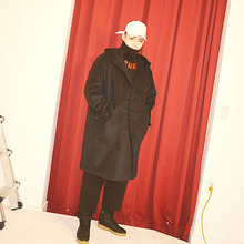 [Double adrenaline syndrome] Oversized hoodie coat - Navy