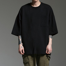 [HOUNDVILLE]OVERFIT POCKET T black