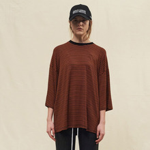 [SLEAZY CORNER] OVER HALF T SHIRT-STRIPE ORANGE