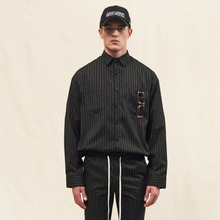 [SLEAZY CORNER] LONG SHIRTS-STRIPE BLACK