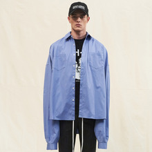 [SLEAZY CORNER] OVERFIT LONG SHIRTS-BLUE