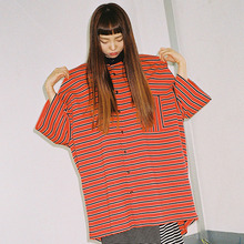 [20% 할인] [AJOBYAJO] Over Stripe PK Shirt (Red)