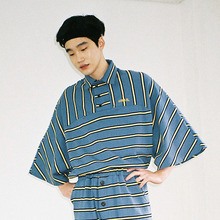 [20% 할인] [AJOBYAJO] Over Stripe Reglan Pique Shirt (Blue)