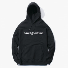 [Have a good time] Side Logo Pullover Hoodie - Black