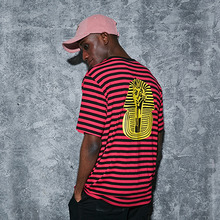 [AROUND80] Pocket Stripe T Shirts - Pink