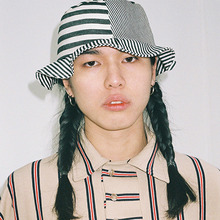 [AJOBYAJO] Stripe Bucket Hat (Black/Ivory)
