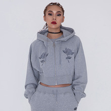[CITYBREEZE] CROP HOODIE ZIP UP GREY