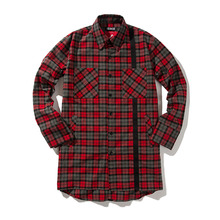 [ANTIMATTER] (35%SALE) Check Tech Long Shirt-Red