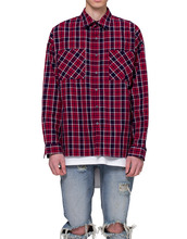 [RCNP] Oversized Flannel Shirts(Navy/Red)