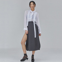 [SALON DE SEOUL] Woman Ruffle Skirt - Grey