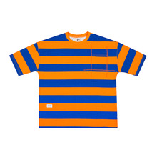 [HOUNDVILLE]OVERFIT STRIPE t-shirt orange