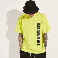 [BASEMOMENT] VERTICAL LOGO T-SHIRT - LIME