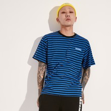 [BASEMOMENT] COLOR STRIPE T-SHIRT - BLUE/BLACK