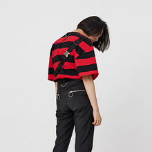 [OY] STRIPE CHAIN T - BK&RD