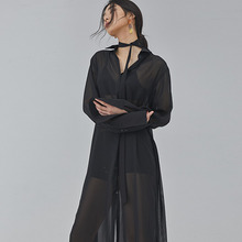 [SALON DE SEOUL] Woman See Through Shirt Robe - Black