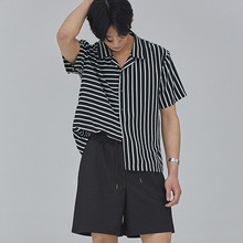 [SALON DE SEOUL] Man Stripe Open Shirt - Black
