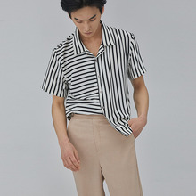[SALON DE SEOUL] Man Stripe Open Shirt - White