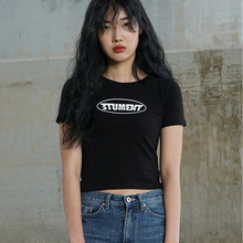 [MUTEMENT][30%할인]MUTE CROP 1/2 T-SHIRTS(BLACK)