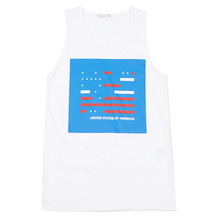 [MELROY] UNISEX USA Printing sleeveless (WHITE)
