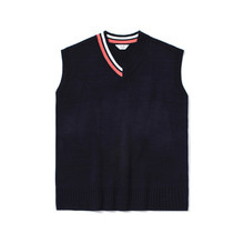 [LAFUDGESTORE] [퍼퓸니트] Unbalance Over V Neck Knit_Navy