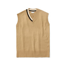 [LAFUDGESTORE] [퍼퓸니트] Unbalance Over V Neck Knit_Camel
