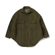 [LAFUDGESTORE] (Unisex) Melton Over Shirt Coat_Khaki Brown