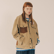[RUNNINGHIGH] Modern Gypsy Cotton Trucker Jacket - Beige