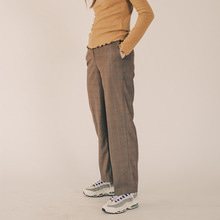 [RUNNINGHIGH] Cube Check Semi Wide Slacks - Light brown