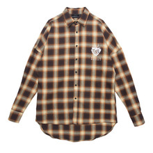 [Black Hoody]Flame Rose Flannel Check Shirt Yellow