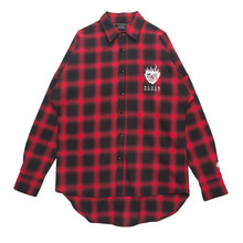 [Black Hoody]Flame Rose Flannel Check Shirt Red