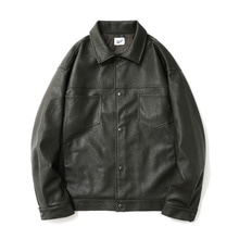 [12%할인] [파르티멘토]Leather 2nd Trucker Jacket Khaki