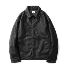 [12%할인] [파르티멘토]Leather 2nd Trucker Jacket Black