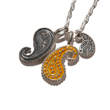 [KRUCHI] Paisley pendant x 3 necklace (silver,yellow)