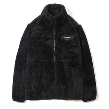 [GROOVERHYME] 2017 FLUFFY YARN FLEECE FULL ZIP-UP (BLACK) [GFZ001F43BK]