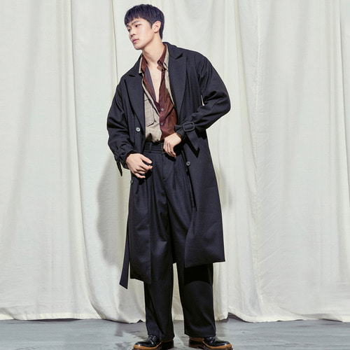 [SALON DE SEOUL] Man Belted Pintuck Wide Pants - Black