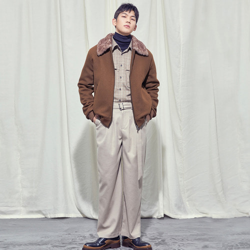 [SALON DE SEOUL] Man Belted Pintuck Wide Pants - Beige