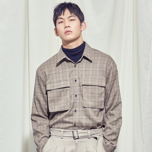 [SALON DE SEOUL] Man Oversize Glen Check Shirt - Check Brown