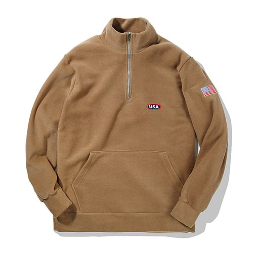 [TENBLADE] USA athletics Fleece Zipup_Beige