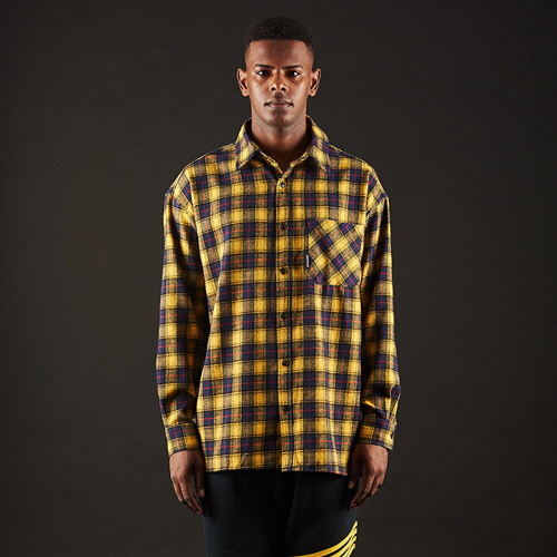 [20%할인][OVER THE ONE] BASIC FIT CHECK SHIRTS (yellow)