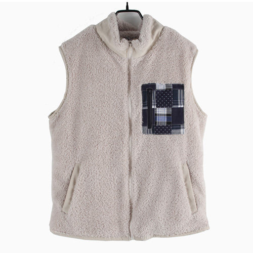 [MARSRAIGHT]PATCH WOOL VEST-IVORY
