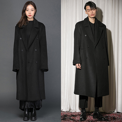 [FLAREUP] Over double long coat (FL-009) - Black