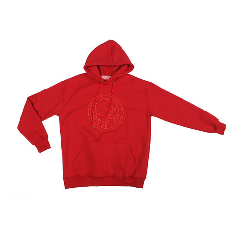 [NBSP] Old-School skull warm hoodie / Red