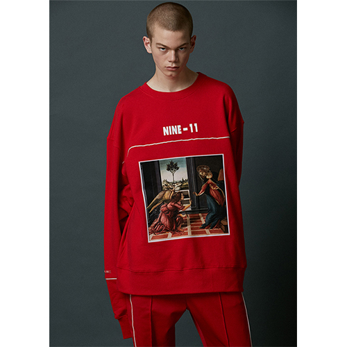 "[Nine Eleven]""Masterpiece"" Crewneck -Red"