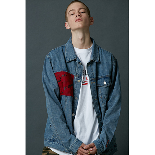 "[Nine Eleven]""Baseball logo"" denim jacket - light blue"