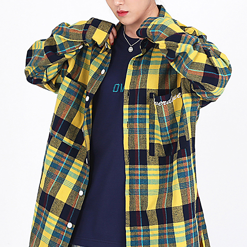[OHVERDOSE]OVER-FIT 2-POCKET LOGO CHECK SHIRTS YELLOW