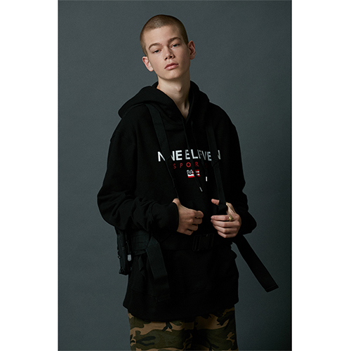 [Nine Eleven]NE sports hoodie - Black