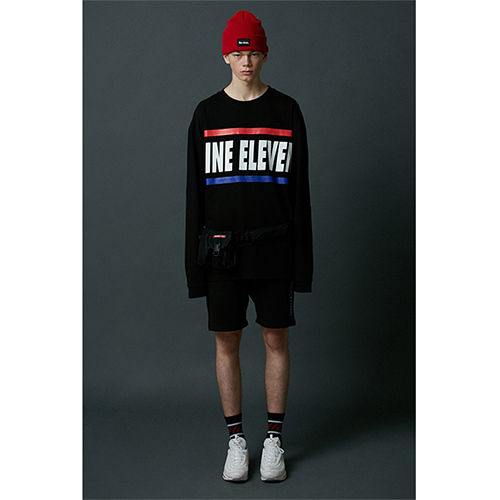 [Nine Eleven]2-stripe logo long sleeve T-shirt-B