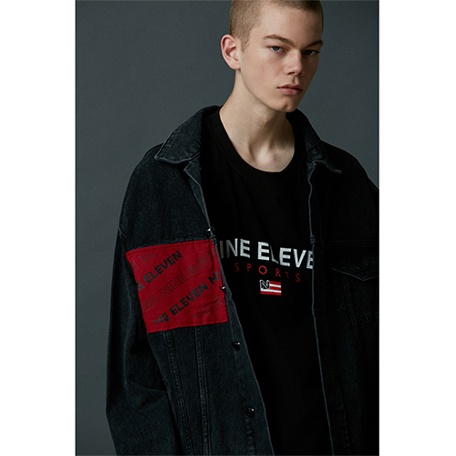 "[Nine Eleven]""Baseball logo"" denim jacket - Black"